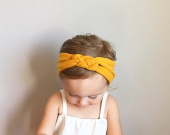 Sailor Knot Headband in MUSTARD YELLOW- Baby/Toddler Sailor Knot