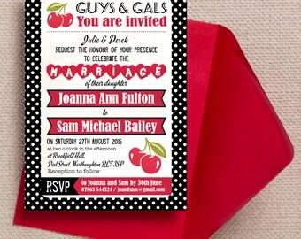 Retro Cherry Rockabilly Black and Red Polka Dot Wedding Invitation & RSVP with envelopes