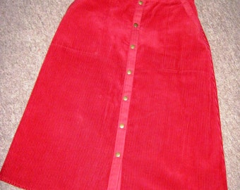 90's Red Corduroy A-Line Skirt size 12 UK/ Preppy/geek Chic