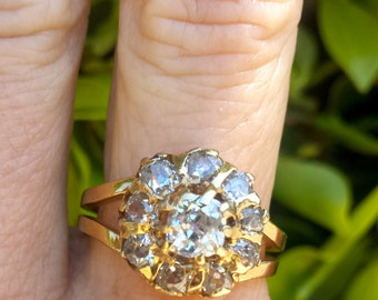 Old Mine Cut Diamond Ring Cluster in 14k Gold