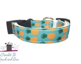 "5/8"" Pineapple Dog or Cat Collar"