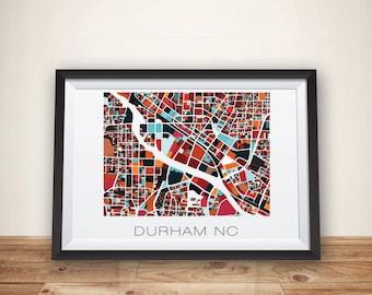 Durham Art, Durham, Map Print, Durham NC, Durham Print, Home Decor. Map Art, City Map
