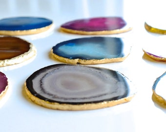 SALE!! Gold, Copper or Silver Trimmed Agate Coasters- Set of 4