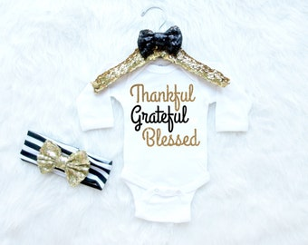 Thankful Grateful Blessed Baby Bodysuit. Baby Girl Thanksgiving Outfit. Baby's First Thanksgiving Outfit. Girls Thanksgiving Shirt