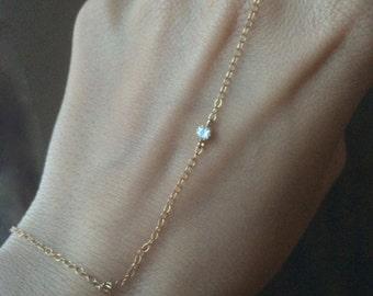Slave Bracelet, Hand Chain, 14k Gold Filled Slave Bracelet with CZ, CZ Slave Bracelet, CZ Hand Chain