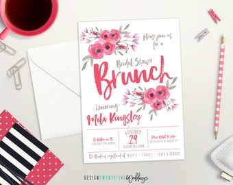 Floral Bridal Shower Invitation // Modern Floral // Brush Calligraphy // The Mila Collection // PRINTABLE - DIY Print