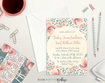 Printable Garden Floral Wedding Invitation Suite // 5x7 Invitation // Choose Your Set! // The Finley Collection