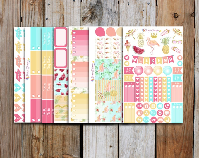 Paradise Planner Stickers Kit (7 pages) | Summer Planner Sticker Kit | for use with ERIN CONDREN LifePlanner