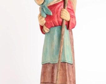 Peasant woman figurine, Peasant woman statue, Polish folk art, Carving folk art, Wood Carved Statue