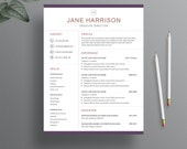 Resume Template - Resume Cover Letter Template - Resume Template for Word - CV - Resume Template for Photoshop - Instant Digital Download