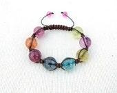 Colorful Quartz Bracelet, Large Beads Bracelet, Original Shamballa Bracelet, Gift for Her