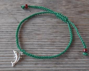 Dolphin Anklet,Dolphin Bracelet,Adjustable Drawstring,Bohemian Anklet,Gypsy Anklet,Summer Anklet,Woman,Ladies Anklet,Girls Anklet