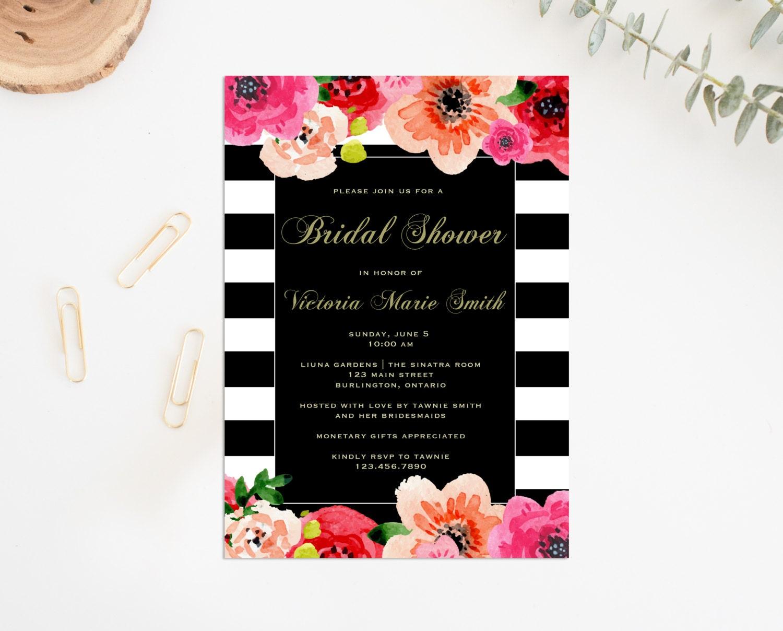 Printable Bridal Shower Invitation Floral Stripe Bridal