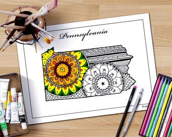 Patriotic Printable Art Pennsylvania Map States Maps Coloring Pages Us Map Coloring Pages