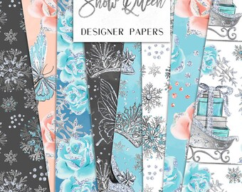 Winter Digital Paper Pack Snow Queen Fashion Sliver Glitter Seamless Pattern | planner stickers, graphics  resources, Fabric, Backdrop