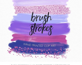 Confetti Brush Strokes Clip Art Hand Painted Nude Earth