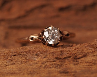 Circa 1900 - Classic Antique Edwardian Yellow Gold Old European Cut Diamond Engagement Ring in 14K Rose/Brown Gold ATL#312