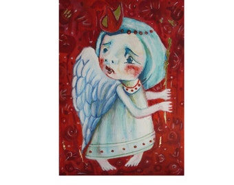 Folk art painting, art angel, fantasy art, angels in art, Primitives, angel gift, abstract angel, paintings with angels, happiness painting