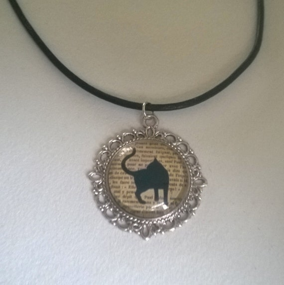 sale black cat leather corded necklace with silver