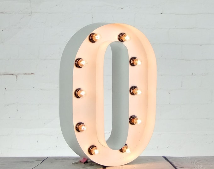 """15""""/ 38cm Mains Powered Vintage Marquee Letter Light - Letter O - Floor Light - Wedding Prop/Display - Available in Rusty, Red or White"""