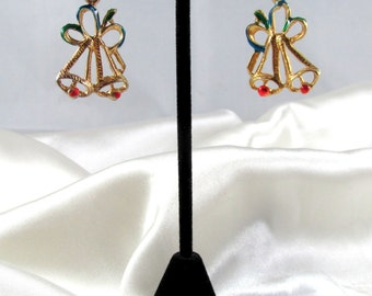 Vintage Christmas Double Bells Pierced Earrings