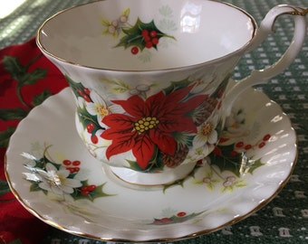 Royal Albert Bone China England Poinsettia Cup and Saucer