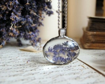 Large LAVENDER terrarium pendant necklace oval, lavender pendant, nature necklace, flower necklace silver purple necklace, terrarium jewelry