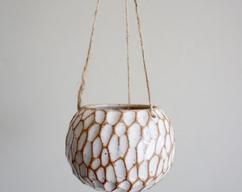 Made to Order | Small ceramic hanging planter, one of a kind, tree bark design, air plant pot by Mud to Life