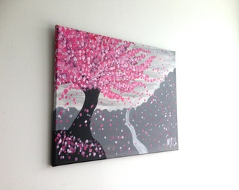 Cherry Blossom Painting, Mountain Painting, Cherry Blossom Tree Painting, Pink Cherry Blossoms, Nature Painting, Nature Art, Tree Painting