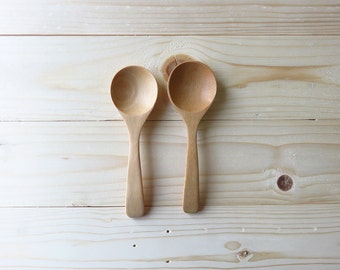 set of 2. Wooden Sugar Spoon Wood Carved  : M089
