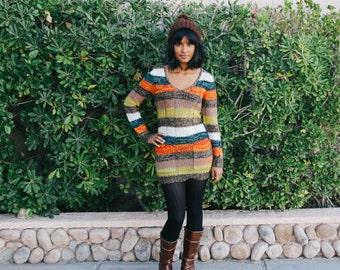FREE SHIPPING Woven Yarn Striped Sweater Dress