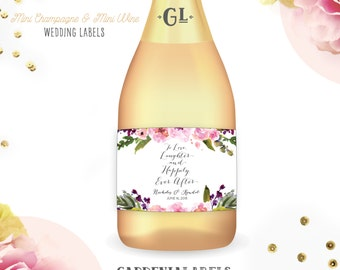 Wedding Favor Mini Champagne Label, Mini Wine Bottle Labels, Thank You, Bridal Shower Decor, Wedding Toast, Engagement