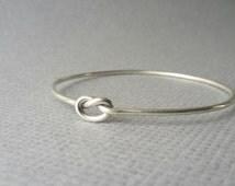 Sterling silver Bracelet, bangle Love knot bangle