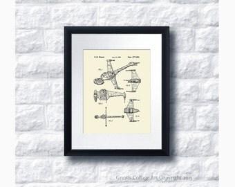 Star Wars B-Wing Starfighter Patent Art Print Star Wars Sci-Fi Movie, Star Wars Home Decor,  Star Wars Print #18