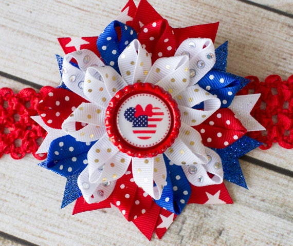 4th of July Hair Bow- 4th of July Bow, Fourth of July Hair Bow, 4th of July Headband, 1st 4th of July Bow, Mickey 4th of July Bow, Mickey