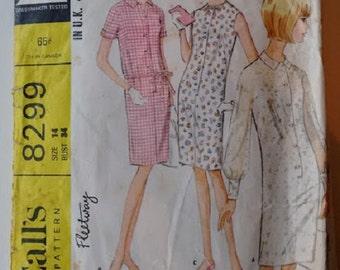 Vintage 60's McCalls 8299 Sewing pattern Mod Shirt Dress with Drawstring Waist Option Size Medium
