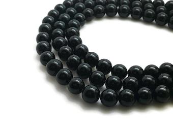 "Natural Black Agate Beads Grade A 4∼16mm Strand 15.5""-38cm Black Onyx Beads Natural Agate Natural Onyx Black Beads Black Mala Agate Mala 8mm"