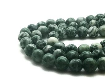 "Green Spot Stone Beads, Green Spot Stone, 4mm, 6mm, 8mm, Natural Beads, Strand 16"" - 40cm"