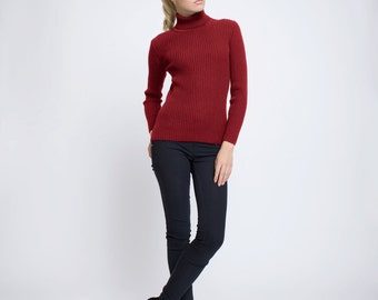 MIA Red Ribbed Turtleneck Sweater