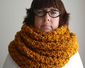 Oversize butterscotch yellow infinity scarf, chunky knit scarf, handmade bulky eternity scarf