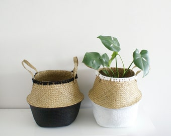 Seagrass Belly Basket // Pom Pom Basket // Paint Dipped // Storage Basket