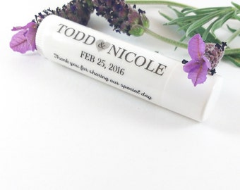 50 or 100 Lip Balm Wedding Favours, Personalized Favors, Party Favours, Wedding Favors