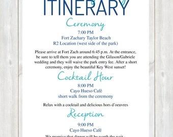 Wedding day itinerary | Etsy