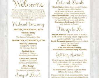 Itinerary cards for wedding hotel welcome bag printed welcome letter weekend itinerary wedding itinerary gold welcome letter destination wedding junglespirit Images