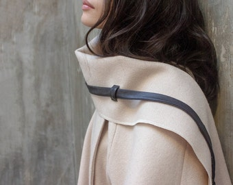 Ivory wool coat with chunky scarf and leather strap / Cape coat / Women poncho / Poncho coat / Fall fashion / Romantic clothing