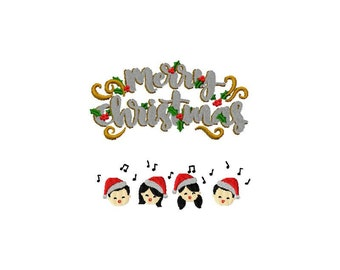 Embroidery pattern on Christmas and its young singers for machine embroidery 4 x 4 format