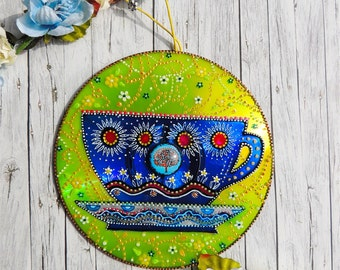 Blue tea cup decor, kitchen decor, housewarming gift, tea time, blue and yellow decor, tea cup wall hanging, hand painted CD, upcycling