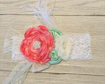 Newborn Lace  Flower Headband- Infant Headband- Baby Girl Headband