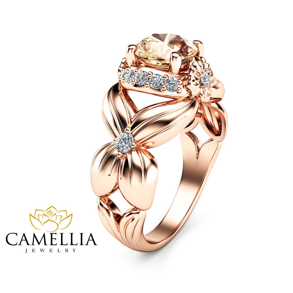 Flower Design Morganite Engagement Ring 14K Rose Gold