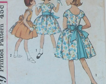 Simplicity Vintage Sewing Dress Pattern 4414 1960's girls one piece dress size 12 button back sash flower girl bridesmaid wedding party bias